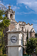 The Church and ex-monastery of San Francisco in Pachuca, Hidalgo State, Mexico.  The Spanish Baroque style church and cloister were constructed in 1596. The cloister is now home to the Museum of Photography.