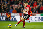 John Egan of Sheffield United during the Premier League match between Sheffield United and Burnley at Bramall Lane, Sheffield, England on 2 November 2019.