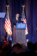 Democratic presidential nominee U.S. Senator Barack Obama (D-IL) speaks to supporters at the Canton Civic Center October 27, 2008 in Canton, Ohio. With only 2 weeks left in the election Obama is on a non-stop campaign through many swing states. Photo by Bryan Rinnert/3Sight Photography