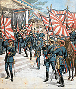 Russo-Japanese War 1904-1905: Emperor of Japan presenting colours to Japanese regiments. From 'Le Petit Journal', Paris, 6 March 1904.