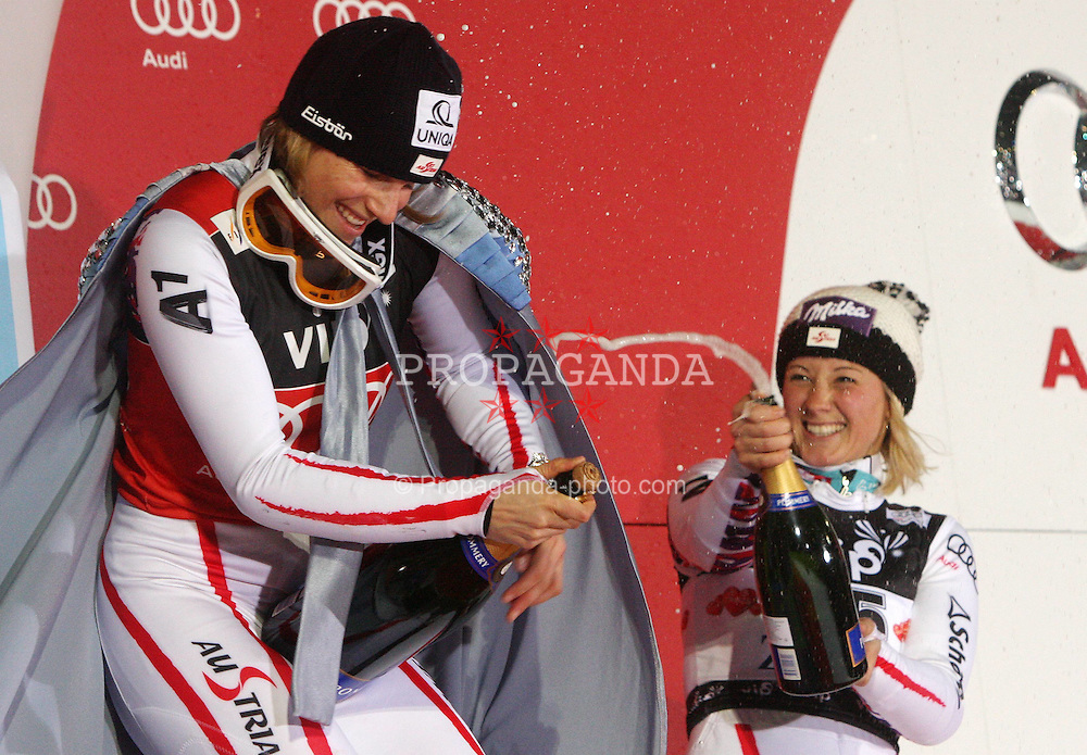 03.01.2012, Crveni Spust, Sljeme, CRO, FIS Weltcup Ski Alpin, Zagreb, Damen Slalom Podium, im Bild Winner of Snow Queen Trophy Marlies Schild and second placed Tina Maze on Podium during Slalom race of FIS Ski Alpine World Cup at 'Crveni Spust' course in Sljeme, Zagreb, Croatia on 2012/01/03. EXPA Pictures © 2012, PhotoCredit: EXPA/ nph/ Pixsell/ Goran Jakus..***** ATTENTION - OUT OF GER, CRO *****