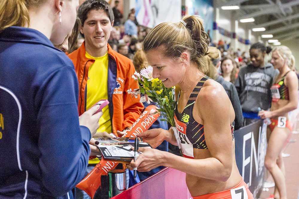New Balance Indoor Grand Prix Track, Kim Conley signs autographs
