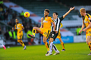 Cambridge Utd's Ben Williamson and Plymouth Argyle's Carl McHugh during the Sky Bet League 2 match between Plymouth Argyle and Cambridge United at Home Park, Plymouth, England on 12 December 2015. Photo by Graham Hunt.