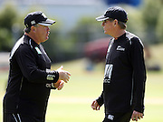 Black Caps coach Andy Moles before the start of play on day 1 talks to Manager Lindsay Crocker.<br />New Zealand v West Indies, First Test Match, National Bank Test Series, University Oval, Dunedin, Thursday 11 December 2008. Photo: Andrew Cornaga/PHOTOSPORT