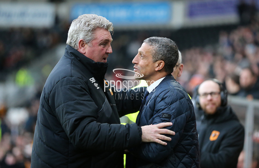 Hull City manager Steve Bruce and Brighton Manager, Chris Hughton during the The FA Cup match between Hull City and Brighton and Hove Albion at the KC Stadium, Kingston upon Hull, England on 9 January 2016.