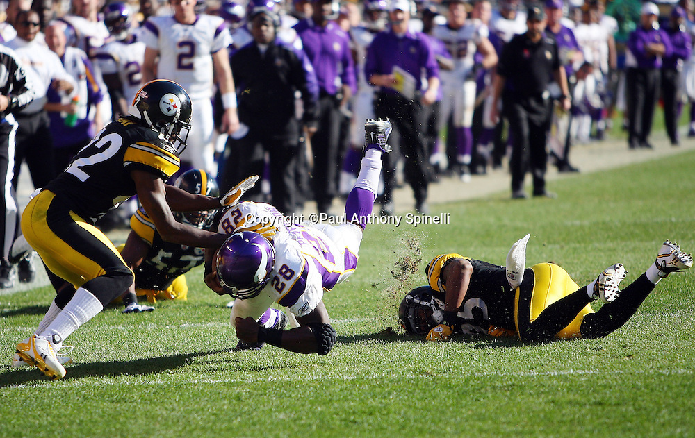Minnesota Vikings running back Adrian Peterson (28) catches a pass and gets upended by Pittsburgh Steelers safety Ryan Clark (25) during the NFL football game Pittsburgh Steelers, October 25, 2009 in Pittsburgh, Pennsylvania. The Steelers won the game 27-17. (©Paul Anthony Spinelli)