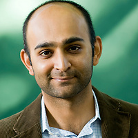 EDINBURGH, SCOTLAND - AUGUST22. Mohsin Hamid  poses during a portrait session held at Edinburgh Book Festival on August 22, 2007  in Edinburgh, Scotland. (Photo by Marco Secchi/Getty Images).