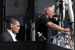 November 9, 2011; Los Angeles, CA; USA; UFC President Dana White speaks during the final press conference for the UFC on FOX, featuring the UFC heavyweight championship fight between Cain Velasquez and Junior Dos Santos.