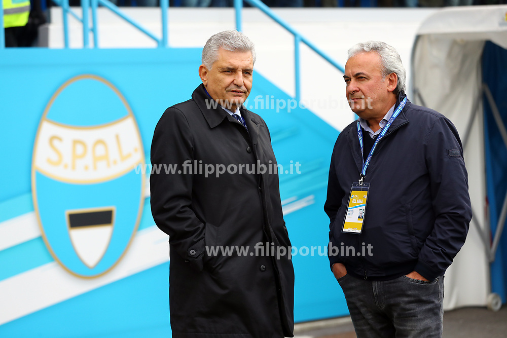 "Foto Filippo Rubin<br /> 28/10/2018 Ferrara (Italia)<br /> Sport Calcio<br /> Spal - Frosinone - Campionato di calcio Serie A 2018/2019 - Stadio ""Paolo Mazza""<br /> Nella foto: MAURIZIO STIRPE E WALTER MATTIOLI<br /> <br /> Photo Filippo Rubin<br /> October 28, 2018 Ferrara (Italy)<br /> Sport Soccer<br /> Spal vs Frosinone - Italian Football Championship League A 2018/2019 - ""Paolo Mazza"" Stadium <br /> In the pic: MAURIZIO STIRPE AND WALTER MATTIOLI"