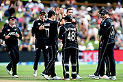 Tim Southee of the Black Caps celebrates during the ANZ One Day International match between the Black Caps and Bangladesh, played at the University Oval, Dunedin, New Zealand, on February 20, 2019. Copyright Image: Joe Allison / www.Photosport.nz