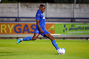 AFC Wimbledon attacker Michael Folivi (17) scoring penalty  during the Pre-Season Friendly match between AFC Wimbledon and Bristol City at the Cherry Red Records Stadium, Kingston, England on 9 July 2019.