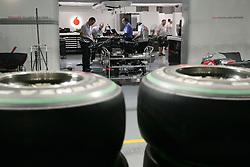 Motorsports / Formula 1: World Championship 2010, GP of Singapore, box of Vodafone McLaren Mercedes