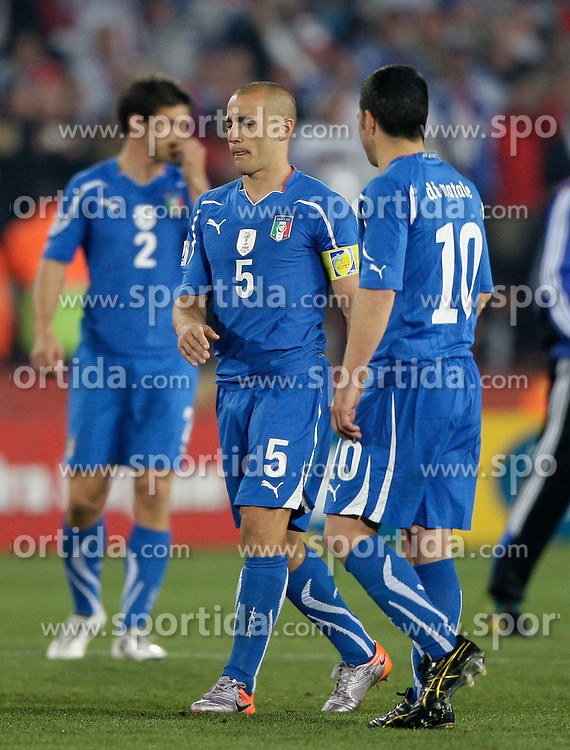 24.06.2010, Ellis Park Stadium, Johannesburg, RSA, FIFA WM 2010, Slovakia (SVK) and Italy (ITA), im Bild A dejected Fabio Cannavaro of Italy with Antonio Di Natale of Italy at the final whistle. EXPA Pictures © 2010, PhotoCredit: EXPA/ IPS/ Marc Atkins / SPORTIDA PHOTO AGENCY