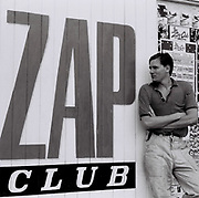Man standing outside the Zap Club, Brighton, UK, 1985