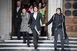 © Licensed to London News Pictures. 05/02/2018. London, UK. Alleged hacker Lauri Love leaves the High Court with his father Reverend Alexander Love, mother Sirkka-Liisa Love and his partner  Sylvia Mann, where he has won an appeal against extradition to the US over alleged cyber-hacking. Photo credit: Ben Cawthra/LNP