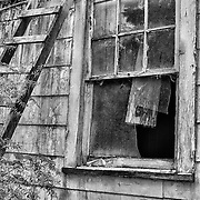 Abandoned Wood Shack Pane Glass Window - Youngs River Loop - HDR - Black & White