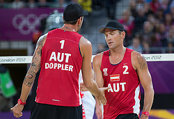 02.08.2012, Horse Guards Parade, London, GBR, Olympia 2012, Beach Volleyball, Herren, im Bild Clemens Doppler (AUT), Alexander Horst (AUT) // Clemens Doppler (AUT), Alexander Horst (AUT) during men Beach Volleyball at the 2012 Summer Olympics at Horse Guards Parade, London, United Kingdom on 2012/08/02. EXPA Pictures © 2012, PhotoCredit: EXPA/ Johann Groder
