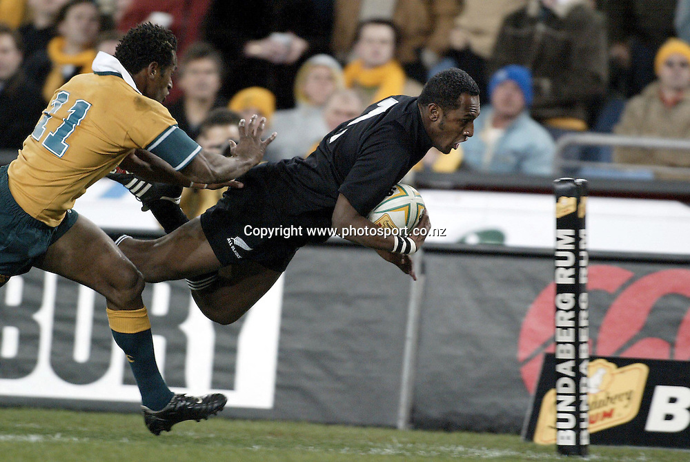 26th July, 2003. Telstra Stadium, Sydney, Australia. Bledisloe Cup. All Blacks v Wallabies.<br />Joe Rokocoko scores for the All Blacks.<br />Pic: Andrew Cornaga/Photosport