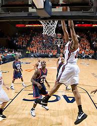 Virginia forward Adrian Joseph (30) dunks against Howard.  The Virginia Cavaliers men's basketball team faced the Howard Bison at the John Paul Jones Arena in Charlottesville, VA on November 14, 2007.