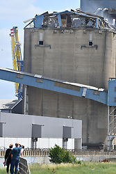 © Licensed to London News Pictures. 03/07/2020.  London UK: Essex emergency services were called to an explosion at a grain silo in Tilbury Docks at around 10am this morning. Emergency services say one person was injured & are treating it as a major incident  , Photo credit: Steve Poston/LNP