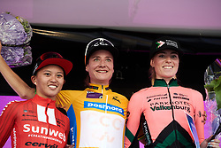 Top three on the stage: Marianne Vos (NED), Coryn Rivera (USA) and Demi Vollering (NED) at Ladies Tour of Norway 2019 - Stage 3, a 125 km road race from Moss to Halden, Norway on August 24, 2019. Photo by Sean Robinson/velofocus.com