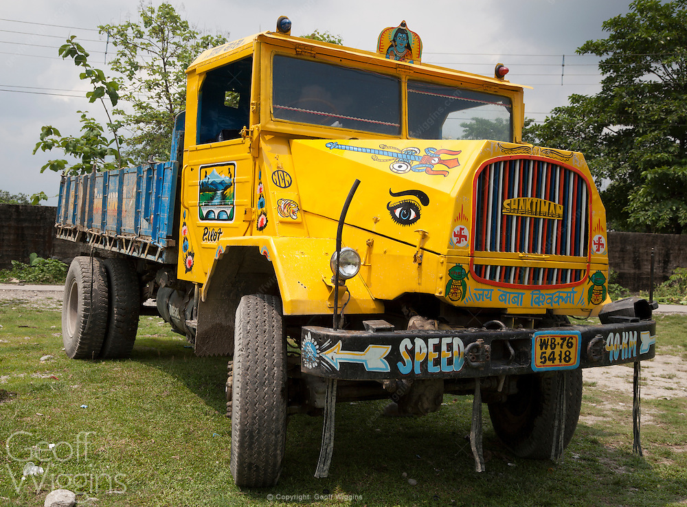 Vintage ex Indian army Shaktiman trucks in West Bengal north east India