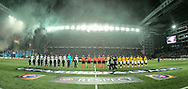 FOOTBALL: The teams line up before the UEFA Europa League, Round of 32, 1st leg match between FC København and Atlético Madrid at Parken Stadium, Copenhagen, Denmark on February 15, 2018. Photo: Claus Birch.