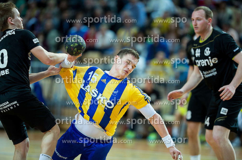 Stas Skube of RK Gorenje vs Vid Poteko of RK Celje PL during handball match between RK Celje Pivovarna Lasko and RK Gorenje Velenje in Final of Slovenian Handball Cup 2015, on March 29, 2015 in Arena Bonifika, Koper, Slovenia. Photo by Vid Ponikvar / Sportida
