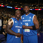 "London,England,UK. 14th May 2017. Adebayo Akinfenwa and nicknamed ""The Beast"", is an English professional footballer player of charity Game at the BBL Play-Off Finals also fundraising for Hoops Aid 2017 but also a major fundraising opportunity for the Sports Traider Charity at London's O2 Arena, UK. by See Li"