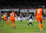 August 9th 2017, Dens Park, Dundee, Scotland; Scottish League Cup Second Round; Dundee versus Dundee United; Dundee's Paul McGowan fires home the winning goal