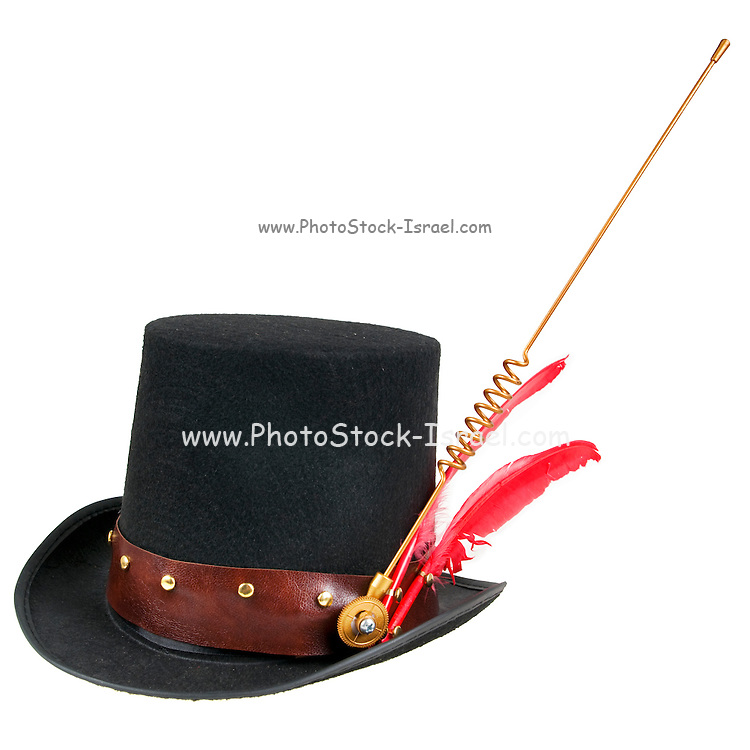 Steampunk accessories Man's hat  On white Background