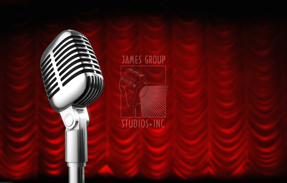 50s mic over red swag theater curtain background.