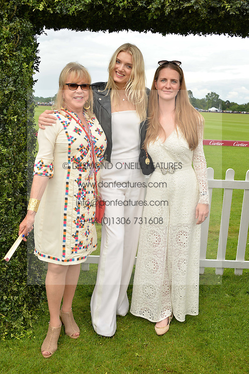 Left to right, PATTIE WESTON, LILY DONALDSON and CHLOE GRANT at the Cartier Queen's Cup Final 2016 held at Guards Polo Club, Smiths Lawn, Windsor Great Park, Egham, Surrey on 11th June 2016.