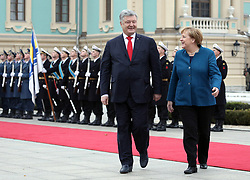 November 1, 2018 - Kyiv, Ukraine - President of Ukraine Petro Poroshenko and Chancellor of the Federal Republic of Germany Angela Merkel (L to R) are pictured during the welcome ceremony outside the Mariinskyi Palace, Kyiv, capital of Ukraine, November 1, 2018. Ukrinform. (Credit Image: © Danil Shamkin/Ukrinform via ZUMA Wire)