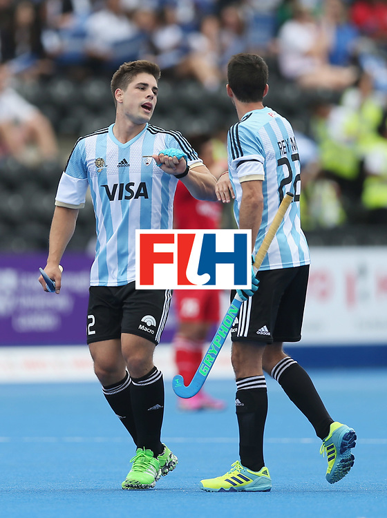 LONDON, ENGLAND - JUNE 15:  Gonzalo Peillat of Argentina (2) celebrates as he scores their first goal during with Matias Rey of Argentina during the Pool A match between Korea and Argentina on day one of Hero Hockey World League Semi-Final at Lee Valley Hockey and Tennis Centre on June 15, 2017 in London, England.  (Photo by Alex Morton/Getty Images)