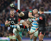 Twickenham, Surrey United Kingdom. Mike BROWN, jumping for the high ball, during the England vs Argentina. Autumn International, Old Mutual Wealth series. RFU. Twickenham Stadium, England. <br /> <br /> Saturday  11.11.17.    <br /> <br /> [Mandatory Credit Peter SPURRIER/Intersport Images]