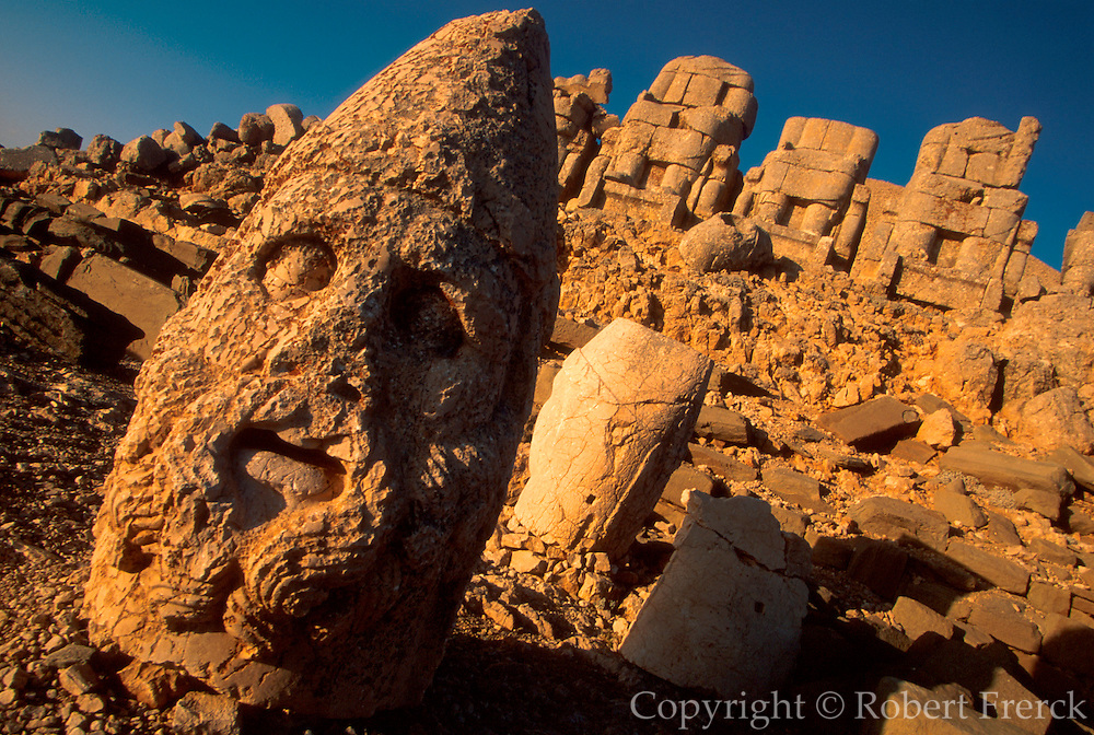 TURKEY, NEMRUT DAGI shrine to gods  and amp; Antiochus I tomb