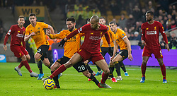 WOLVERHAMPTON, ENGLAND - Thursday, January 23, 2020: Liverpool's Fabio Henrique Tavares 'Fabinho' (R) and Wolverhampton Wanderers' João Moutinho during the FA Premier League match between Wolverhampton Wanderers FC and Liverpool FC at Molineux Stadium. (Pic by David Rawcliffe/Propaganda)