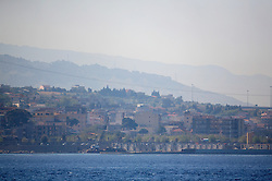 ITALY SICILY 30APR08 - Landscape at the Strait of Messina, a narrow gap between the southern Tip of Italy and Sicily seen from aboard the Greenpeace ship Arctic Sunrise in the Mediterranean...jre/Photo by Jiri Rezac..© Jiri Rezac 2008..Contact: +44 (0) 7050 110 417.Mobile:  +44 (0) 7801 337 683.Office:  +44 (0) 20 8968 9635..Email:   jiri@jirirezac.com.Web:    www.jirirezac.com..© All images Jiri Rezac 2007 - All rights reserved.
