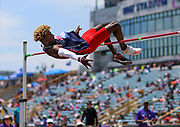 Trey Allen of Oak Mountain High School, Alabama, won the Boys High Jump Championship with a jump of 2.12m (6-11.5) during the New Balance Outdoor Nationals, Sunday, June 16, 2019, in Greensboro, NC. (Brian Villanueva/Image of Sport)