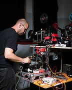"""Andrea Saggiomo aka 70fps ritratto per la proiezione di """"Ancora no!"""" del Fringe Festival. Rassegna cinematografica """"Pellicola in scena"""", Arteficio, Torino."""