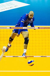 10.01.2016, Max Schmeling Halle, Berlin, GER, CEV Olympia Qualifikation, Frankreich vs Russland, Finale, im Bild Earvin Ngapeth (#9, FRA) // during 2016 CEV Volleyball European Olympic Qualification Final Match between France and Russia at the Max Schmeling Halle in Berlin, Germany on 2016/01/10. EXPA Pictures © 2016, PhotoCredit: EXPA/ Eibner-Pressefoto/ Wuechner<br /> <br /> *****ATTENTION - OUT of GER*****