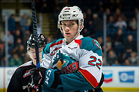 KELOWNA, CANADA - FEBRUARY 7:  Braydyn Chizen #22 of the Kelowna Rockets stands on the ice against the Vancouver Giants on February 7, 2018 at Prospera Place in Kelowna, British Columbia, Canada.  (Photo by Marissa Baecker/Shoot the Breeze)  *** Local Caption ***