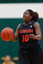Dec 7, 2011; San Francisco CA, USA;  Florida Gators guard Jaterra Bonds (10) dribbles the ball up court against the San Francisco Lady Dons during the first half at War Memorial Gym.  Florida defeated San Francisco 91-68. Mandatory Credit: Jason O. Watson-US PRESSWIRE