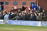 Millwall fans and bury fans before the Sky Bet League 1 match between Bury and Millwall at the JD Stadium, Bury, England on 23 April 2016. Photo by Mark Pollitt.