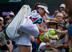 LONDON, ENGLAND - Tuesday, July 2, 2019: Johanna Konta (GBR) signs autographs after her match during the Ladies' Singles first round match on Day Two of The Championships Wimbledon 2019 at the All England Lawn Tennis and Croquet Club. (Pic by Kirsten Holst/Propaganda)