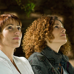 A shot from the film of actresses Emma Vilarasau and Marta Marco star gazing.