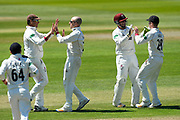 Wicket - Jack Leach of Somerset celebrates taking the wicket of Gareth Berg of Hampshire during the Specsavers County Champ Div 1 match between Somerset County Cricket Club and Hampshire County Cricket Club at the Cooper Associates County Ground, Taunton, United Kingdom on 26 May 2017. Photo by Graham Hunt.