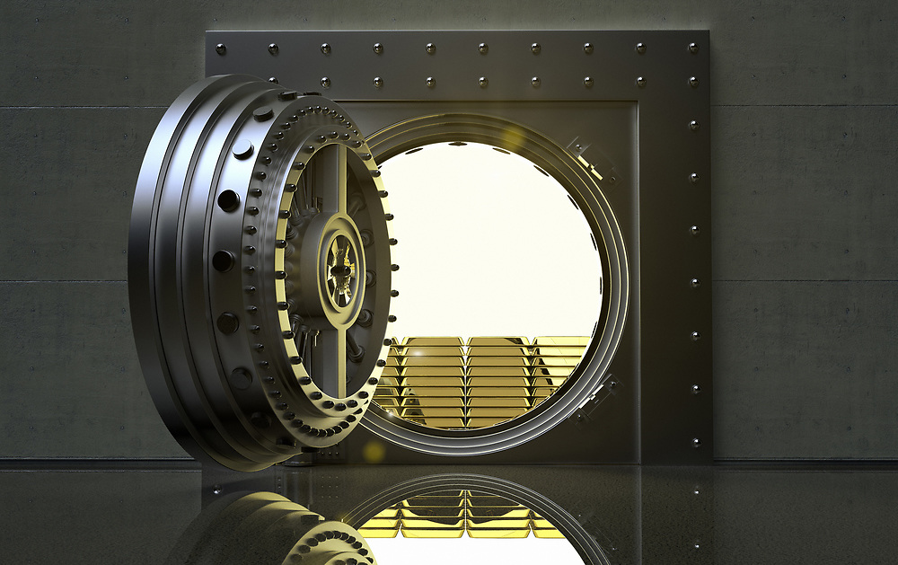 3D rendering of a bank Vault with gold bars inside