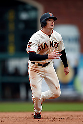 SAN FRANCISCO, CA - MAY 26: Mike Yastrzemski #5 of the San Francisco Giants runs to third base against the Arizona Diamondbacks during the fifth inning at Oracle Park on May 26, 2019 in San Francisco, California. The Arizona Diamondbacks defeated the San Francisco Giants 6-2. (Photo by Jason O. Watson/Getty Images) *** Local Caption *** Mike Yastrzemski